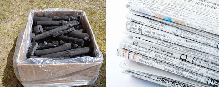 木炭と新聞紙